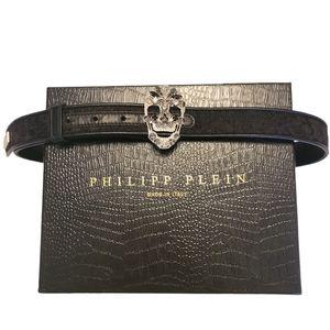 Phillip Plein Studded Bejeweled Skull Leather Belt